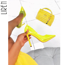 Liren New Women Sandals Sexy PVC Candy Color High Heels Transparent Shallow Mouth Pointed Stiletto Heel Shoes Pink