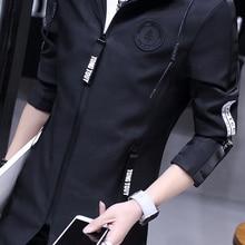 M~ 3XL! Новая мода Semir Тренч Весна мужской средней длины куртка Тонкий с капюшоном мужская одежда верхняя одежда певица костюмы