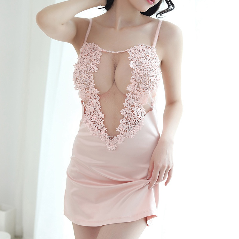 Women Mini Nightie Spaghetti Strap Night Dress Girl Silk Lingerie Sexy Lace Night Gowns Chemise Babydoll Lady Pink See Through