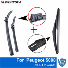 SLIVERYSEA Front and Rear Wiper Blade no Arm For Peugeot 5008 2009 Onwards High quality Natural Rubber windscreen 30''+28''R все цены