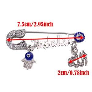Image 2 - turkish evil eye Mashallah Stainless steel brooch Allah hamsa hand of fatima islam muslim baby pin