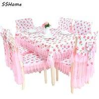 Różowy Koronki Krzesło Poduszki Obejmuje Koreański Stół Obrusy Poliester Pokrywa Meble Tkaniny Tkaniny Wysokiej Jakości Włókiennictwa Decor
