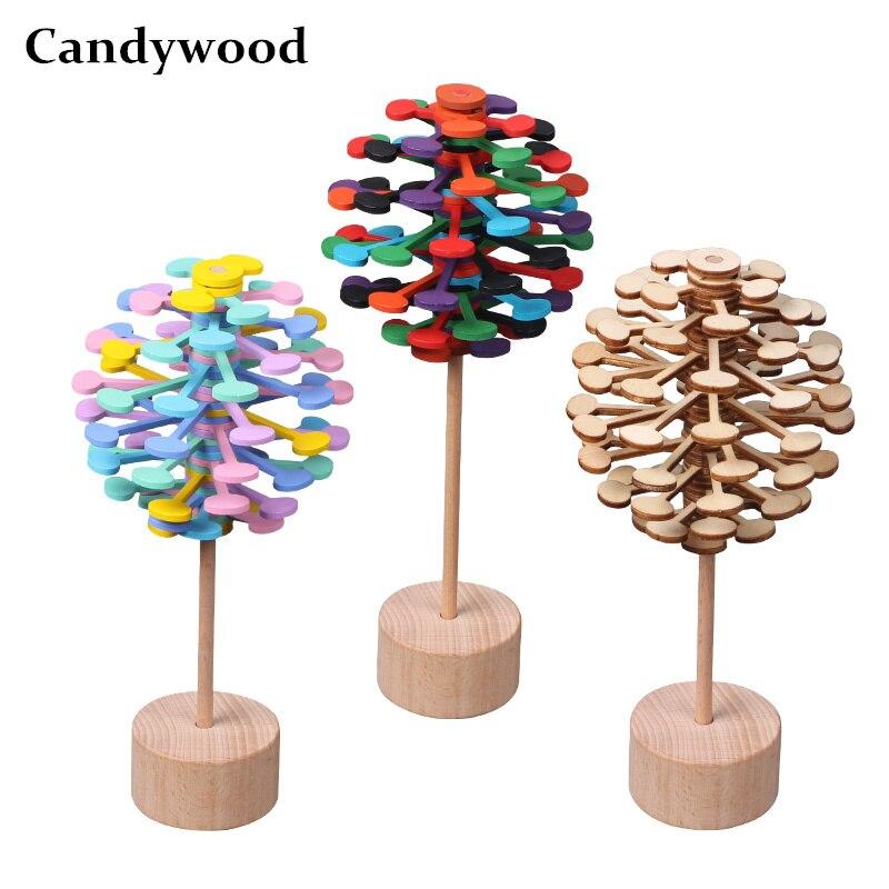 Candywood Holz Helicone zauberstab Stress Relief Spielzeug Rotierenden lollipop Kreative kunst dekoration Büro dekompression junge mädchen
