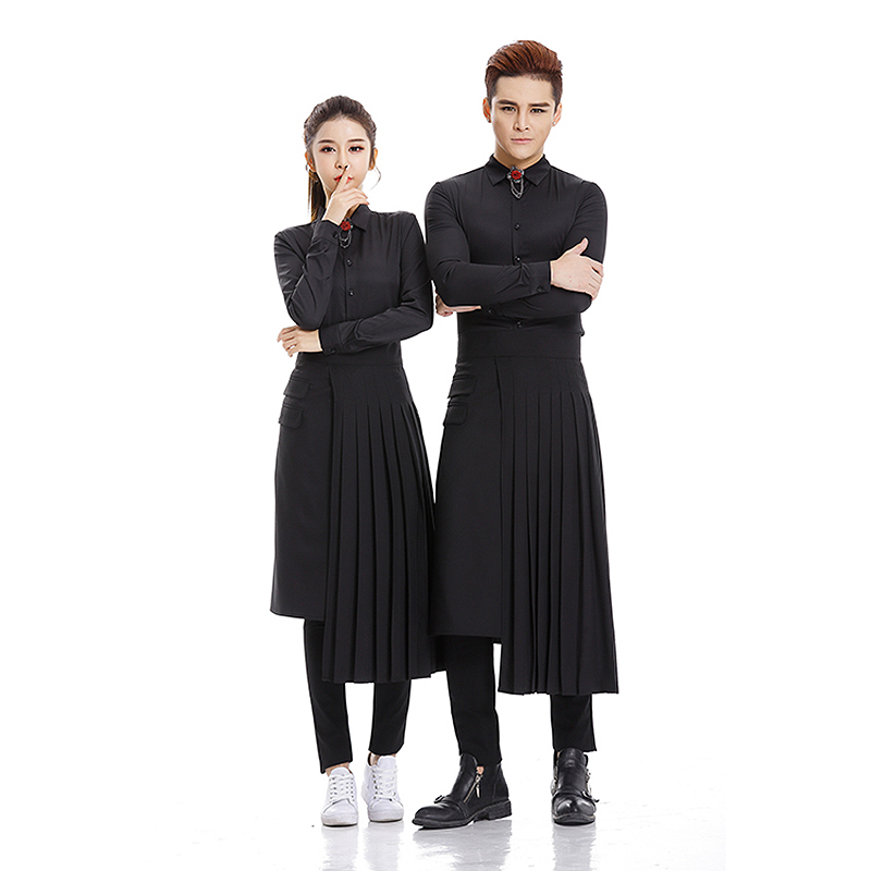 Young Hairdresser Working Shirt & Pleated Apron Set Fashion Long Sleeves Hairdressing Work Suit Uniform Styling Tool Black U1006