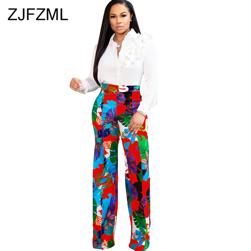 High Waist Bohemian   Wide     Leg     Pants   For Women Flower Leaves Print Beach Holiday Wear Trouser Vintage Plus Size Full Length   Pants