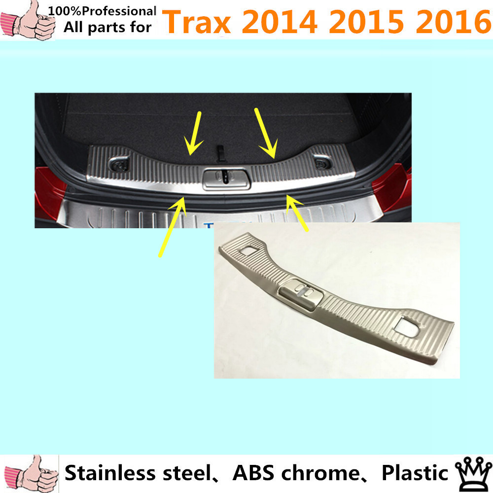 car cover Stainless Steel Inner Rear Bumper trim plate lamp frame threshold trunk pedal 1pcs for Chevrolet Trax 2014 2015 2016 car rear trunk security shield cargo cover for volkswagen vw tiguan 2016 2017 2018 high qualit black beige auto accessories