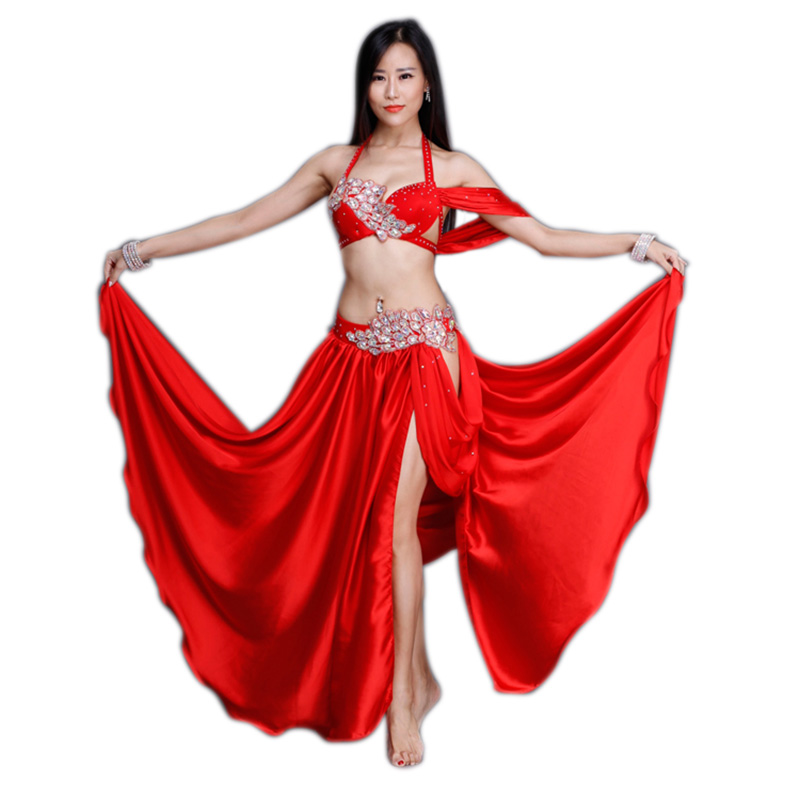 2018 Women Professional Belly Dance Costume Set Luxury Bellydance Costumes Stage Performance Diamond Decoration Bras Skirt