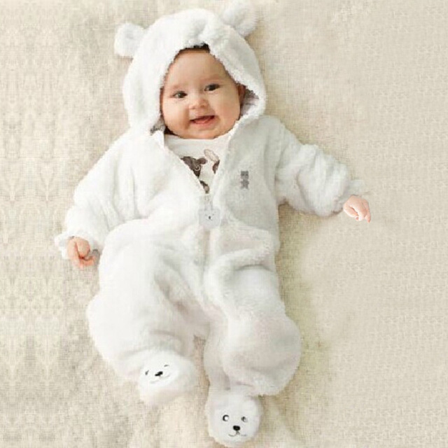 70136757821 Autumn Winter Infant Boys Clothing Baby Rompers Bear Style Coral Fleece  Hoodies Jumpsuit Baby Girls Rompers Newborn Baby Clothes