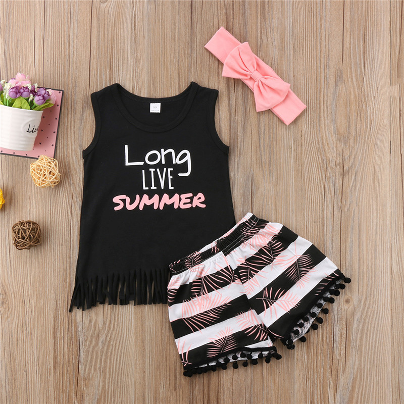 2018 3pcs Baby Set Summer Infant Baby Girl Clothes Set Vest Top+Floral Shorts With Headband Baby Girl Outfit 0-24M floral print crop cami top with shorts
