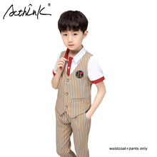 ActhInK 2019 Summer 2Pcs Boys Striped Waistcoat Suit Vest+Pants For School Kids Uniform Teen Gentle