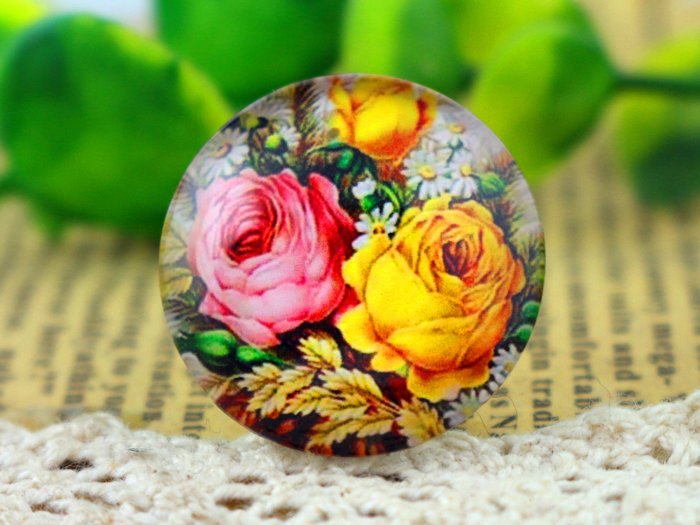 New Fashion  5pcs/Lot 25mm  Handmade Photo Glass Cabochons  F4-11