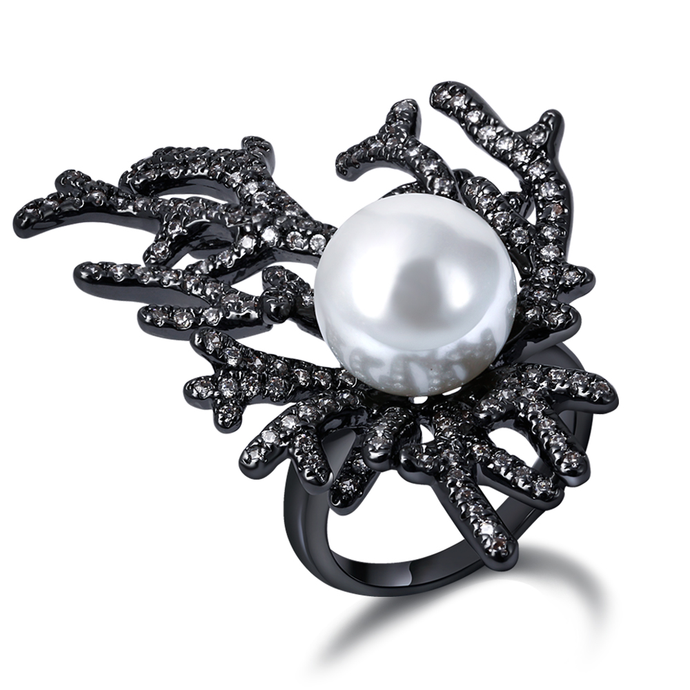 Gorgeous Coral Design Women Rings Created Pearl Deluxe Synthetic Cubic  Zirconia Black Goldcolor Bridal Wedding Jewelry