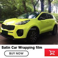New arrival satin series vinyl wrapping film for car vinyl wraps tender green With Air Bubble Free Glue upgraded