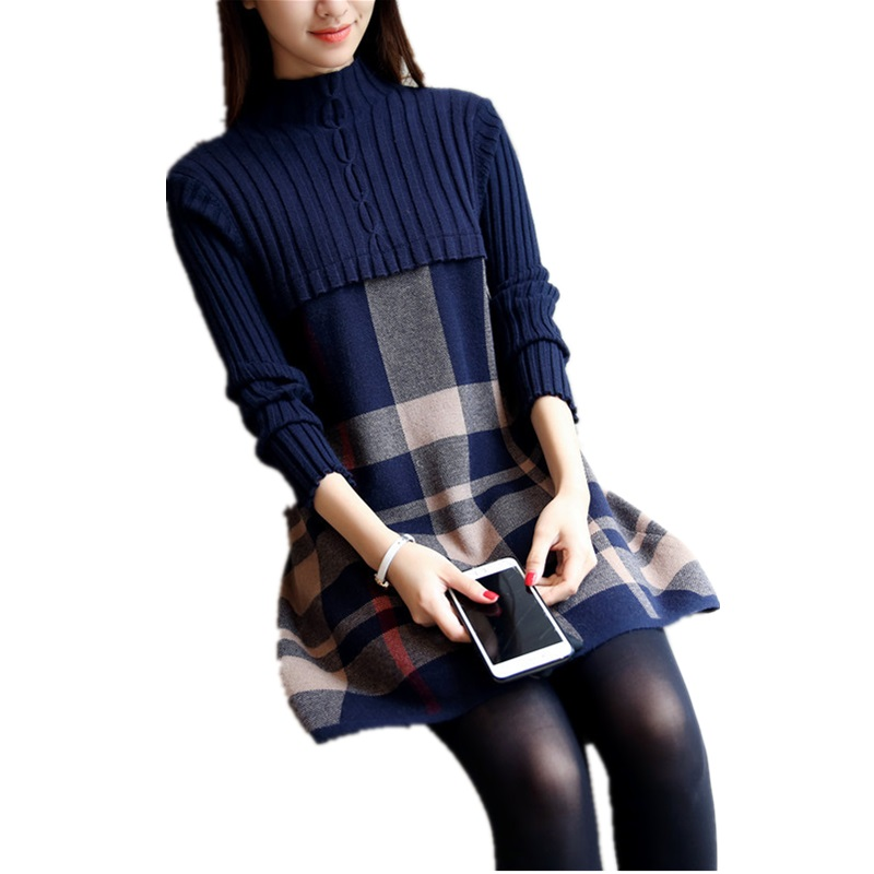 Fashion Turtleneck Sweater Dress For Women Winter Knitted Dresses Plaid Patchwork Autumn Thick Velvet Warm Wool Sweater Dress