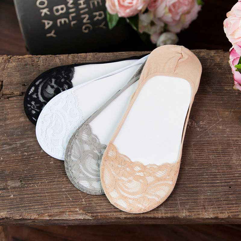 SP&CITY Solid Female Lace Slippers High Heels Invisible Socks Women Hollow Out Breathable Soft Summer Boat Socks Low Ped Meias