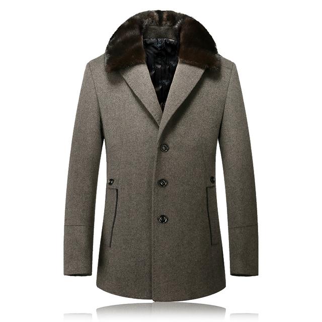 2016 novo inverno lã & Mink gola do casaco trench coat Dos Homens único Breasted Homens Outerwear Jaqueta Corta-vento Dos Homens Casaco Casuais tamanho M-3XL