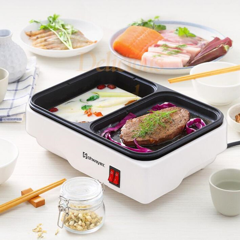 220V Non-stick Smokeless Electric 2 In 1 Cooking Machine Multifunctional Electric Hot Pot And Barbecue Grill Plate Pan EU/AU/UK 220v 600w 1 2l portable multi cooker mini electric hot pot stainless steel inner electric cooker with steam lattice for students