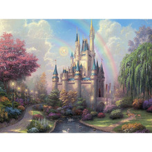 Castle Under The Rainbow Landscape DIY Digital Painting By Number Modern Wall Art Canvas Unique Gift Room Decor 40x50