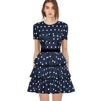 2019 Self Portrait летнее платье взлетно посадочной полосы дизайн дамы цветочный принт со звездой голубое платье Многоуровневое Короткая женское п