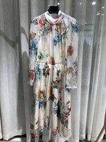 Роскошное платье с цветочным рисунком наивысшего качества в итальянском стиле, модное романтическое платье с цветочным принтом, благородн