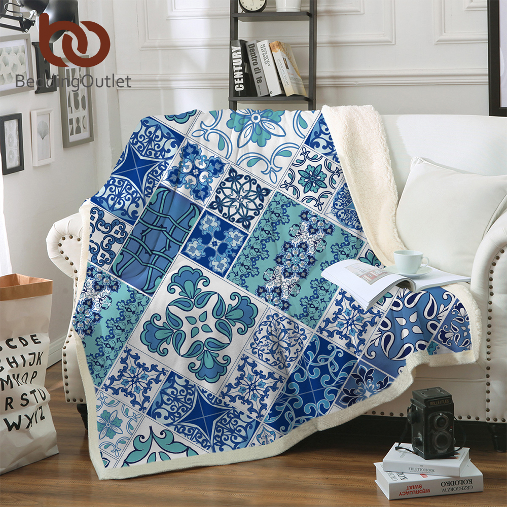 Beddingoutlet Mosaic Throw Blanket Blue And White Sherpa