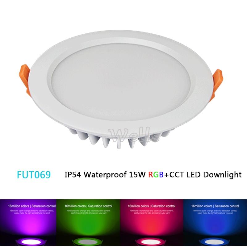 ᑎ Milight Fut069 15w Led Ceiling Rgb Cct Round Spotlight Ac100