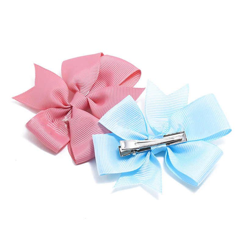 1/5/10PCS 6 นิ้ว Colorful Hair Bows ของแข็ง Hairpins คลิปผมอุปกรณ์เสริม Hairclips สำหรับเด็ก
