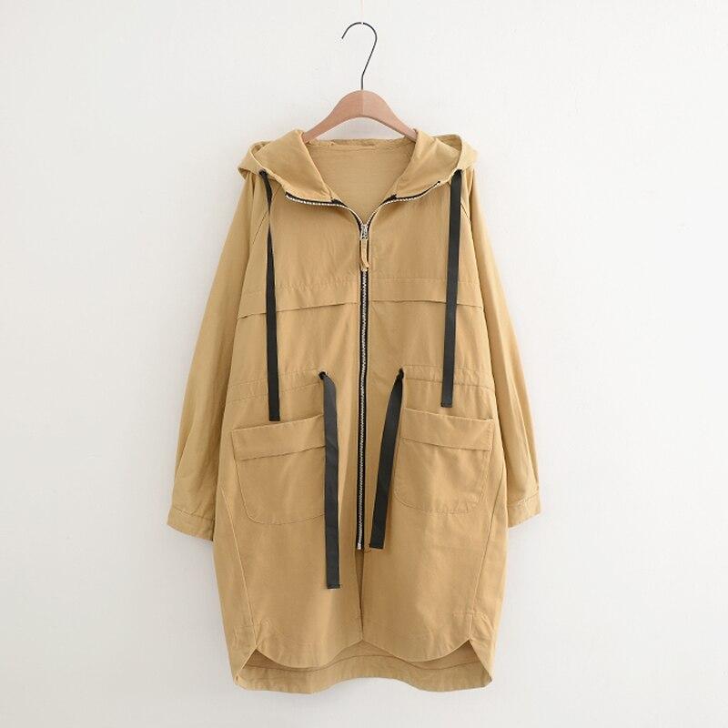 chic Oversize hooded khaki female large size loose asymmetric Drawstring waist coat women jacket