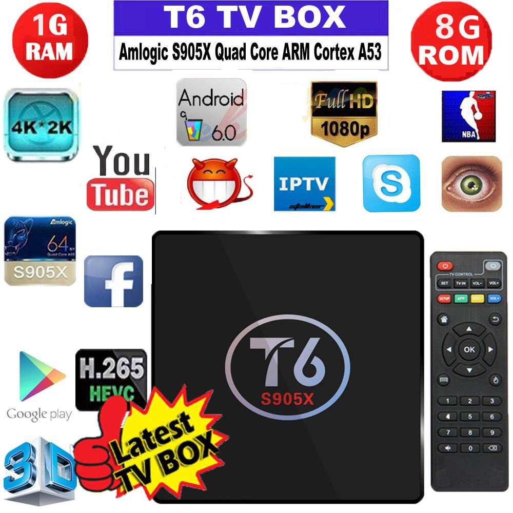 Nueva T6 S905X Anroid 6.0 Smart TV Box Amlogic Quad Core 1 GB/8 GB TV Box WiFi U