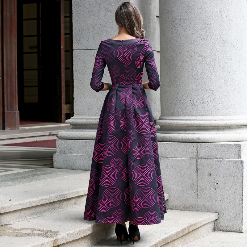 S XXXL Vintage Printed Women Pleat Maxi Dress Plus Size Autumn Collared 3 4  Sleeve Swing Long Dresses Robe Longue Femme-in Dresses from Women s  Clothing ... 6a9b0475545a