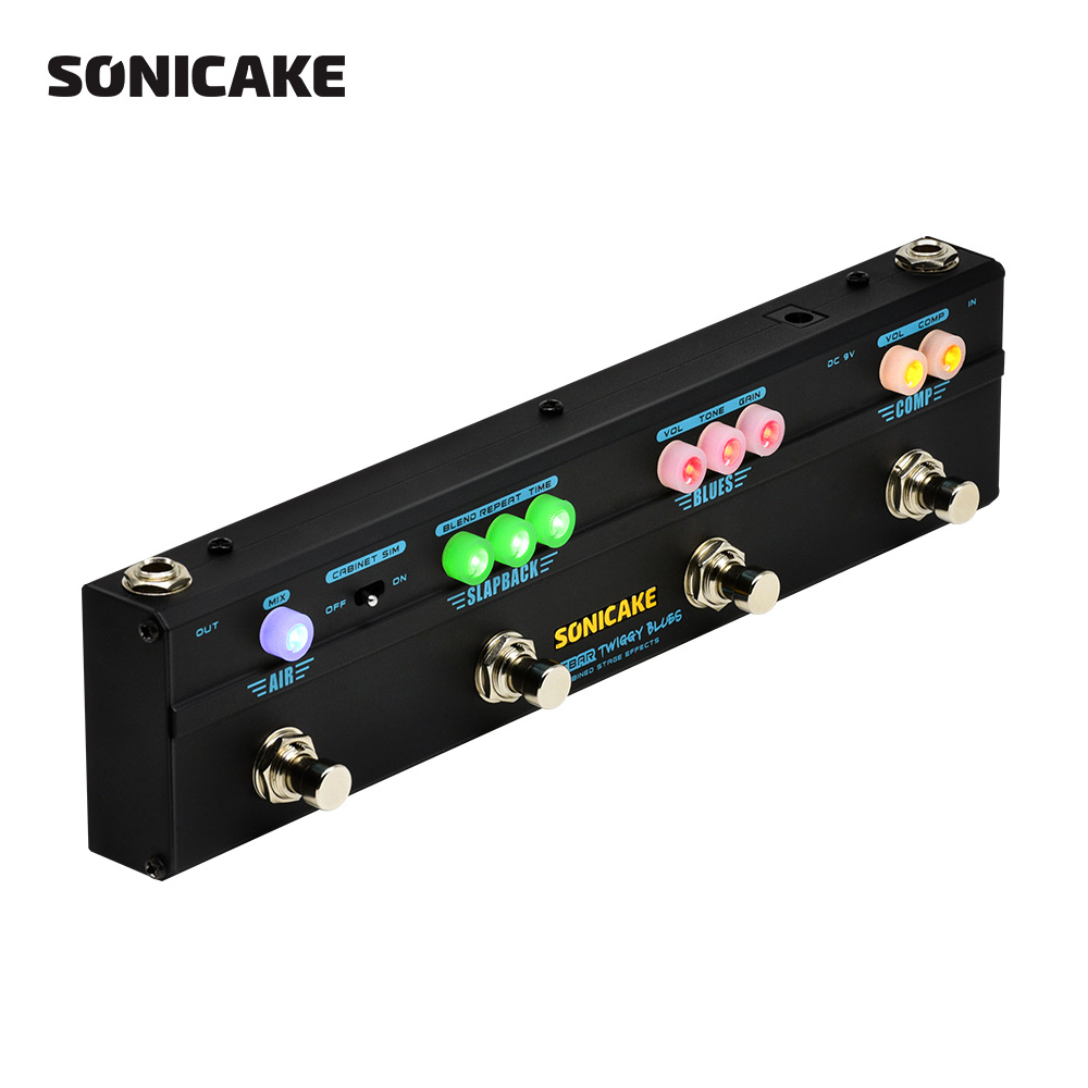 Sonicake Multi Effekt Gitarre Pedal Twiggy Blues 4 in 1 Wirkung Kombiniert Kompressor Overdrive Verzögerung Reverb 4 Typ Stecker QCE-20