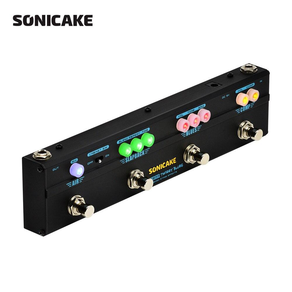Sonicake мульти эффект гитары педаль Twiggy Блюз 4 в 1 эффект комбинированный компрессор Overdrive задержки реверберации Тип Plug QCE-20
