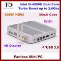 8 GB de RAM 1 T HDD Fanless computador mini pc linux ubuntu e i5-4200u, 4 * USB 3.0, Hdmi, Directx 11, 4 k, Fio, Vga
