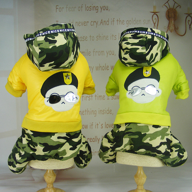Camouflage army Dog Pet cotton padded Clothes jacket coat Winter Warm  fleece Small dog puppy Hoodie Jumpsuit clothes snowsuit-in Dog Coats &  Jackets