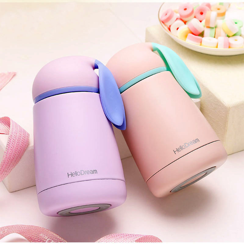 Fashion 300ML Eco Friendly Thermos Cup 304 Stainless Steel Insulated Flasks Outdoor Travel Belly Lovely Rabbit