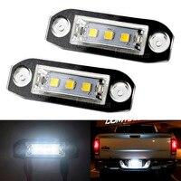 2X Car LED License Plate Lights 12V White 3 5050SMD LED Number Plate Lamp For Volvo
