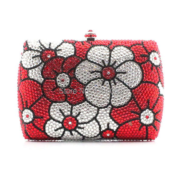 Crystal Decorated Flower Pattern Handmade Hard Clutch Evening Bag New Women Bag chic letter heart pattern decorated bracelet for women