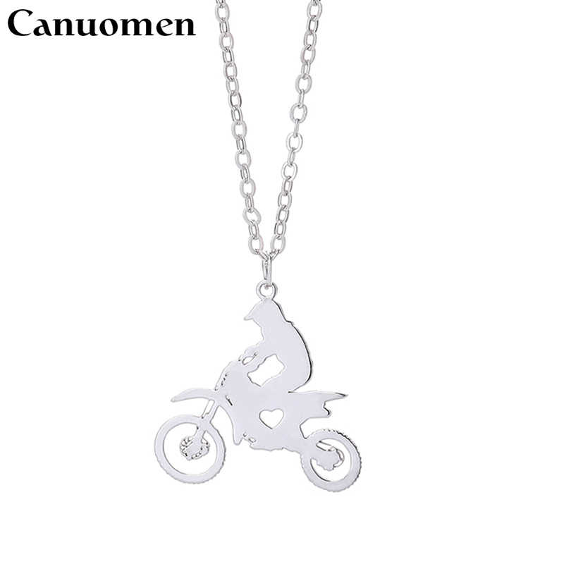 Motorcycle Racing Pendant Necklace Extreme Sport Stainless Steel Sports Jewelry Silver Gift for Motor Lover Fans New Arrival