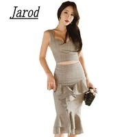 Korean 2 Piece Set Office Plaid Deep V Neck Top Ruffled Skirts Set Women Sleeveless Backless
