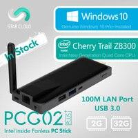 Fanless Intel Mini PC Stick Star Cloud PCG02 Plus Cherry Trail Z8300 Windows 10 Home 2GB