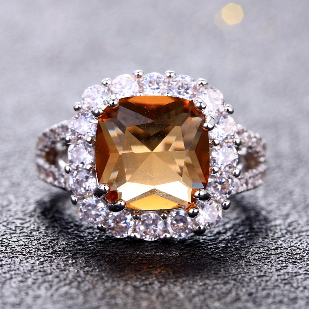 Charms 10x10MM Square Citrine Rings For Women Men 925 Silver Jewelry Ring With AAAA Cubic Zirconia Wedding Party Gift WholesaleCharms 10x10MM Square Citrine Rings For Women Men 925 Silver Jewelry Ring With AAAA Cubic Zirconia Wedding Party Gift Wholesale