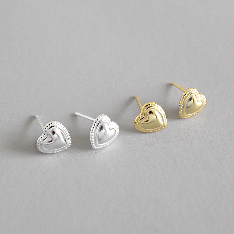 925 sterling silver love heart stud earrings for women pendientes mujer, cute mini earings girl gifts aretes brincos jewelry