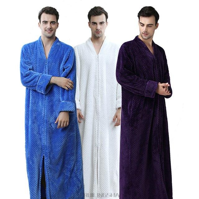 Online Shop Men Plus Size Thickening Warm Extra Long Winter Bathrobe