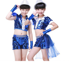 Childrens Latin dance costumes jazz clothes sequins boys and girls modern stage performance clothing