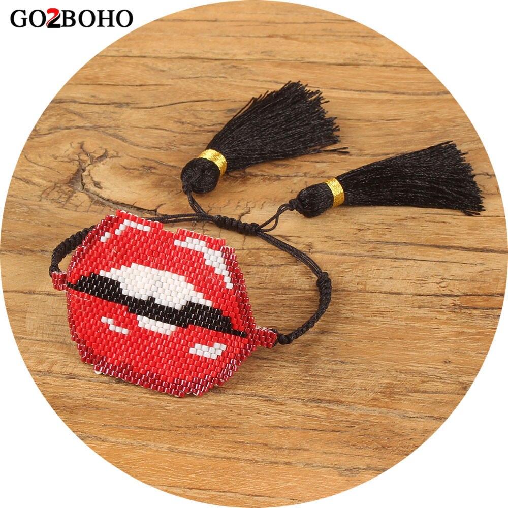 Go2boho Dropshipping Sexy Lips Bracelet Red Kiss MIYUKI Bracelets Jewelry Delicate Japan Seed Beads Tassel Women Gift Bracelets