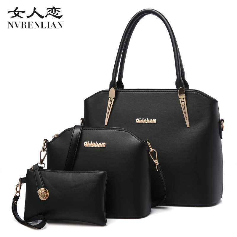 цены  NVRENLIAN Brand Women Handbag Large Tote Bag PU Leather Shoulder Messenger Bags Female Small Coin Purse 3Pcs Composite Bag