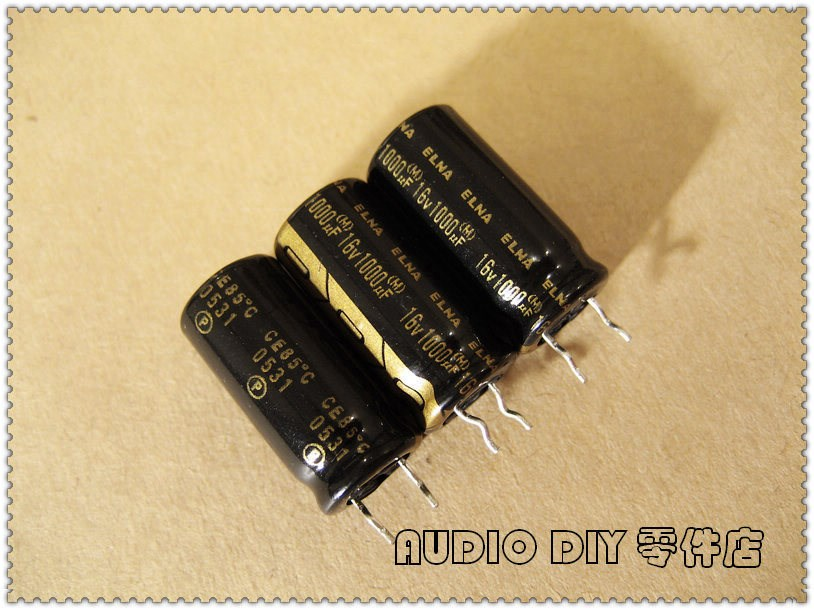 10PCS/<font><b>50PCS</b></font> ELNA black gold word RA2 series <font><b>1000uF</b></font> <font><b>16V</b></font> 16V1000uF audio electrolytic capacitor image