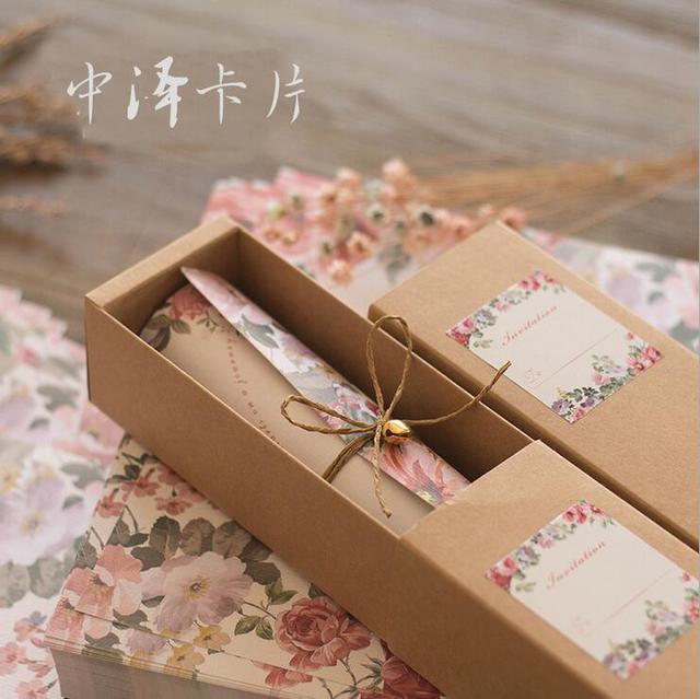 2017 new european style invitations card paper carton hemp rope bell
