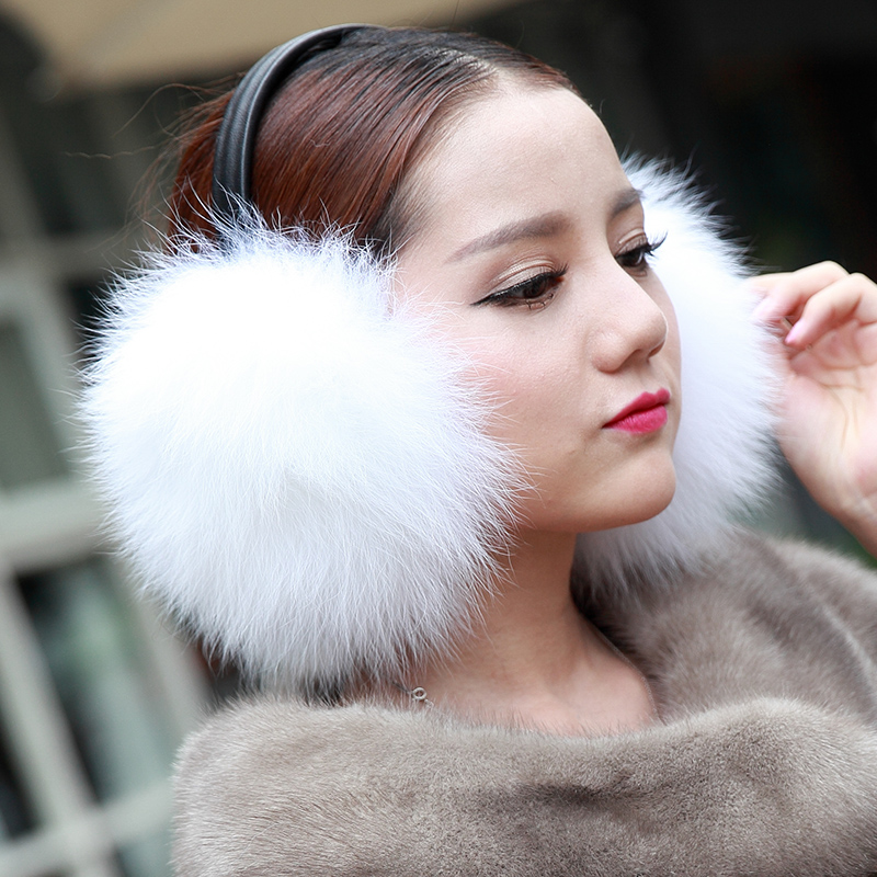 Trend Winter Full Leather Fox Fur Earmuffs Winter Thermal Women's Earmuffs Ear Package Ear