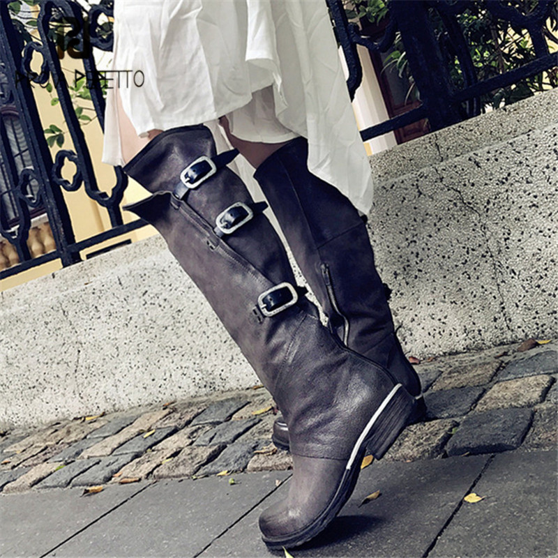 Prova Perfetto Genuine Leather Women Knee High Boots Autumn Winter Flat High Boots Buckle Straps Flat Riding Boot Ladies ShoesProva Perfetto Genuine Leather Women Knee High Boots Autumn Winter Flat High Boots Buckle Straps Flat Riding Boot Ladies Shoes